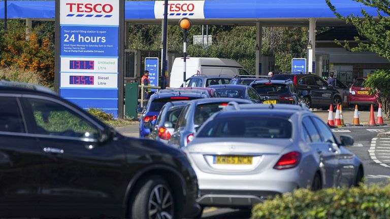 Cars queue at Tesco near Stanwell, Middlesex