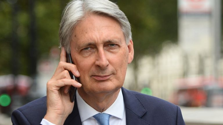 Former chancellor Philip Hammond in Whitehall, Westminster, London as Prime Minister Boris Johnson will temporarily close down the Commons from the second week of September until October 14
