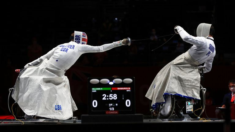 Britain's Piers Gilliver (L) triumphed in the wheelchair fencing. Pic: AP