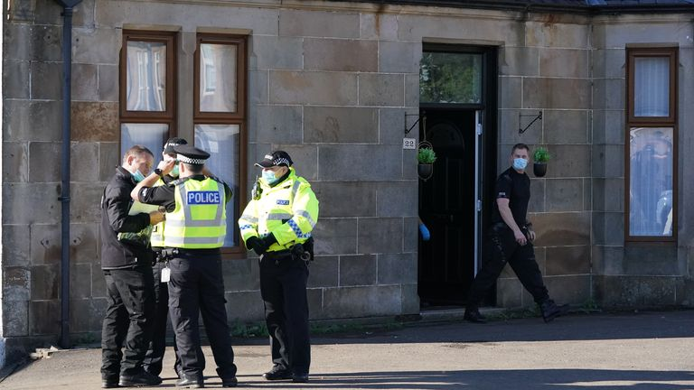 Police leave a property in New Cumnock, East Ayrshire, after seven-year-old Carson Shephard was reported missing. Carson was last seen in the Afton Bridgend area of the village on Sunday evening. Picture date: Monday September 20, 2021