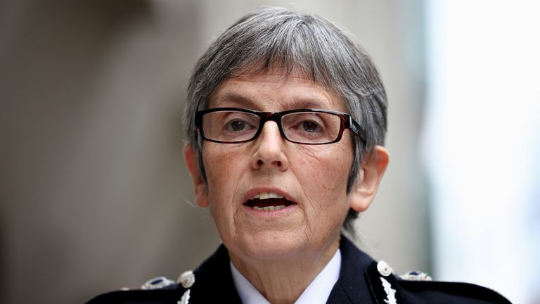 Metropolitan Police Commissioner Cressida Dick delivers a statement outside the Old Bailey where police officer Wayne Couzens was sentenced following the murder of Sarah Everard, in London, Britain, September 30, 2021. REUTERS/Henry Nicholls