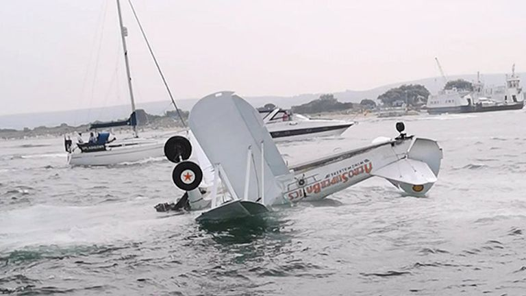 The plane in Poole crashed into the harbour. Pic: @ACason00