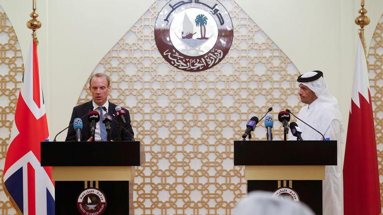 Qatari Foreign Minister Sheikh Mohammed meets British Foreign Secretary Raab in Doha