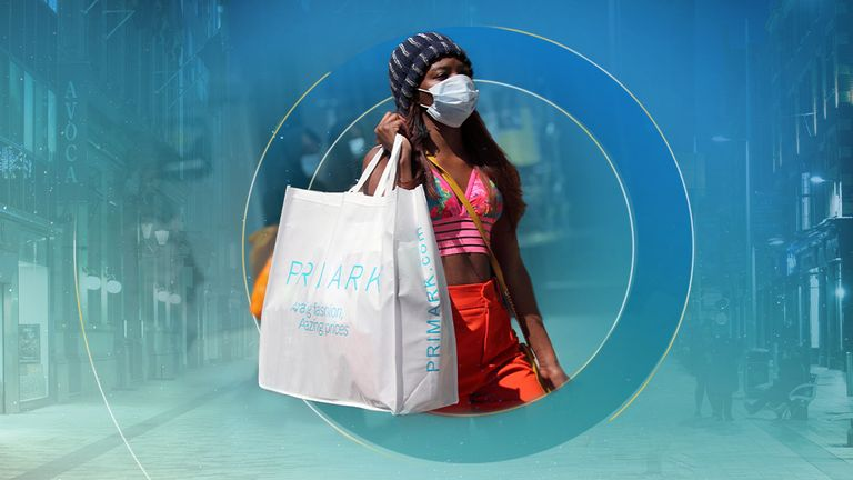 Outbreak of the coronavirus disease (COVID-19) in London A woman walks with a bag of Primark store at Oxford Street, amid the spread of the coronavirus disease (COVID-19) in London, Britain June 15, 2020. REUTERS/Hannah McKay