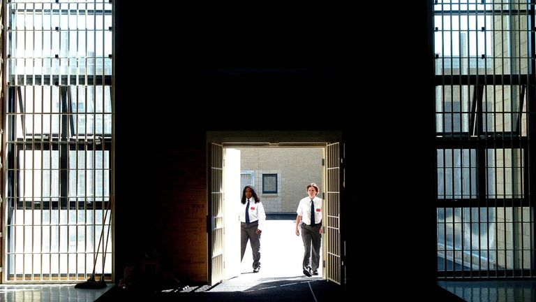 A general view of prison officers at work at the new HMP Bronzefield (womens prison) in Ashford, Middlesex.