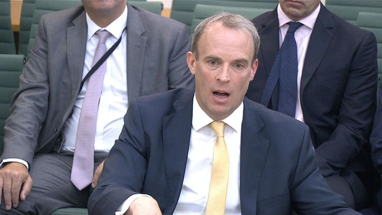 Foreign Secretary Dominic Raab faces questions from MPs