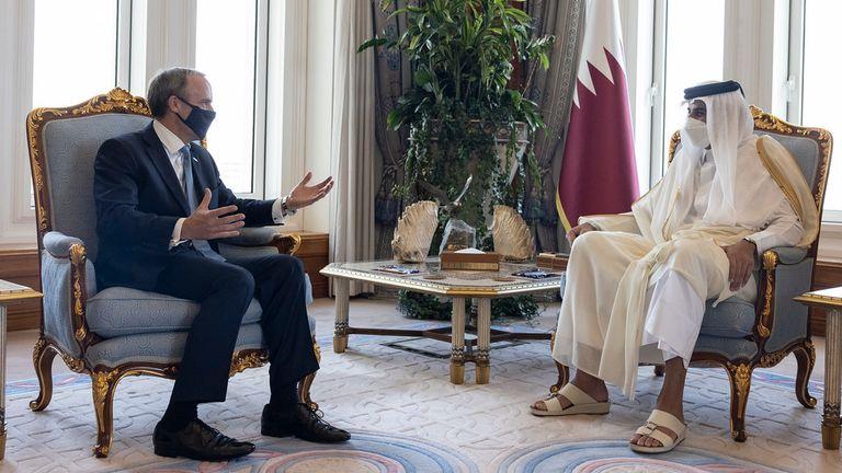 Foreign Secretary Dominic Raab meets Sheikh Tamim bin Hamad Al Thani is the Amir of Qatar at the Amiri Diwan in Doha Qatar. Picture by Simon Dawson / No 10 Downing Street