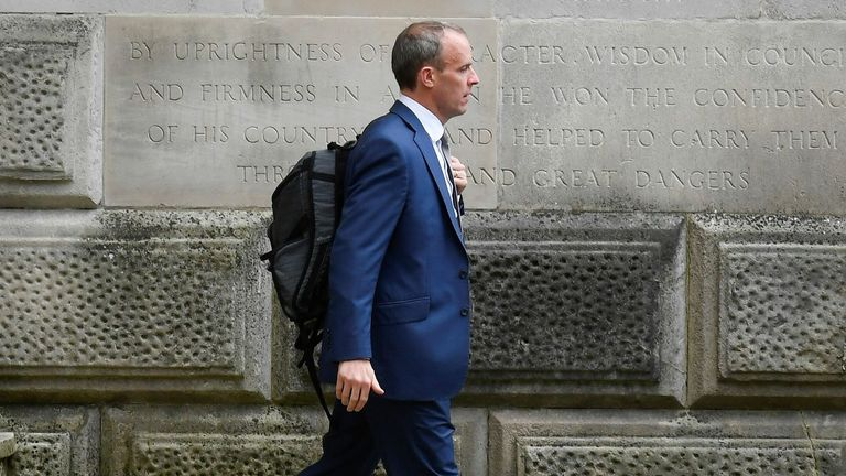 Britain's Foreign Secretary Raab walks outside FCDO in London - 15/09/2021