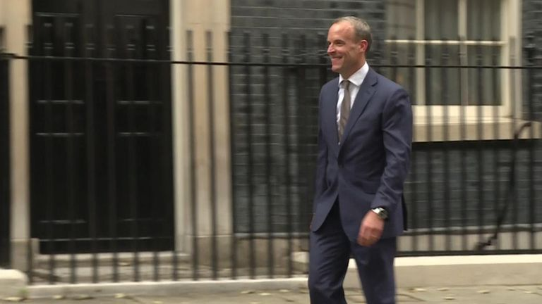 Dominic Raab smiled as he left Downing Street - then quickly dropped it once out of the view of cameras.
