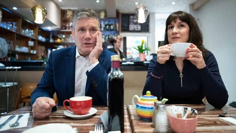 EMBARGOED TO 2230 SUNDAY SEPTEMBER 26 Labour Party leader Sir Keir Starmer and shadow chancellor Rachel Reeves during a visit to businesses in Hove, East Sussex where they met shop keepers and local people before attending the second day of the Labour Party annual conference in Brighton. Picture date: Sunday September 26, 2021.