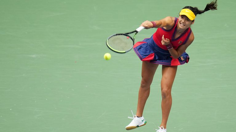 Emma Raducanu of Great Britain serves against Leylah Fernandez of Canada (not pictured) in the women's singles final on day thirteen of the 2021 U.S. Open tennis tournament at USTA Billie Jean King National Tennis Center. Pic: Danielle Parhizkaran-USA TODAY Sports