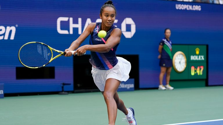 Leylah Fernandez, of Canada, returns a shot to Emma Raducanu, of Britain, during the women...s singles final of the US Open tennis championships, Saturday, Sept. 11, 2021, in New York. Pic: AP