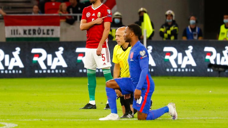 Raheem Sterling takes the knee in Budapest. Pic: AP