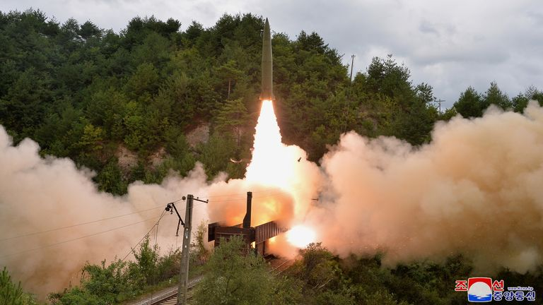 A missile is seen launched during a drill of the Railway Mobile Missile Regiment in North Korea, in this image supplied by North Korea's Korean Central News Agency on September 16, 2021. Pic: KCNA