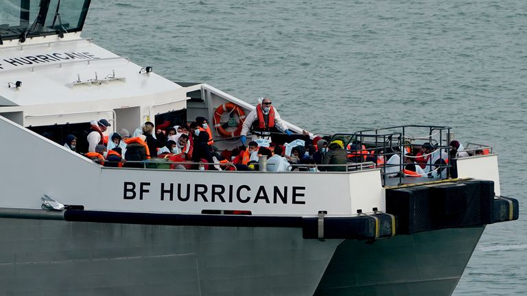 Border Force officers rescue a number of people following a small boat incident in the Channel