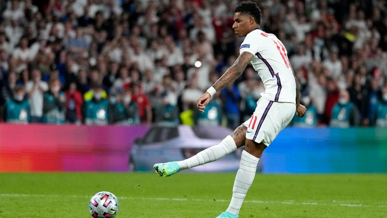 England's Marcus Rashford   during the penalty shootout of the Euro 2020 soccer championship final between England and Italy at Wembley stadium in London, Sunday, July 11, 2021. PIC:AP