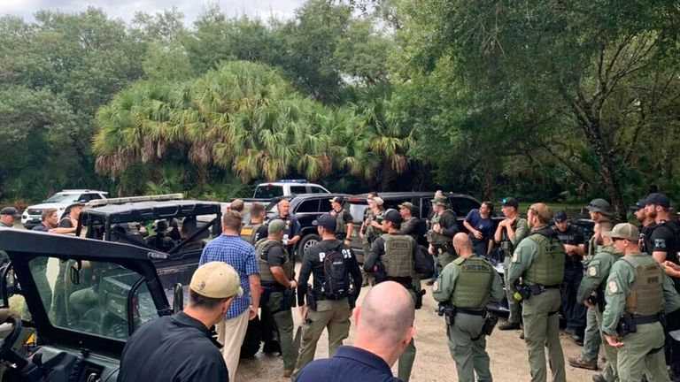 Police conduct a search of the vast Carlton Reserve in the Sarasota, Florida