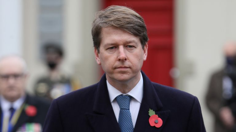 Robin Walker MP, Minister of State at the Northern Ireland Office, during the Remembrance Sunday service at the Cenotaph in Enniskillen