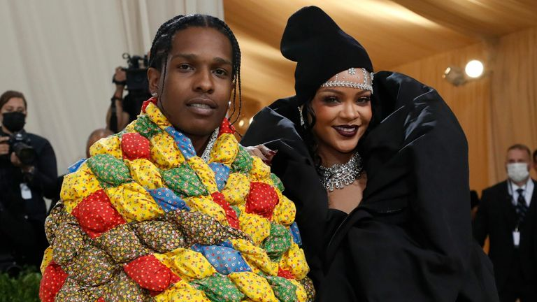 Metropolitan Museum of Art Costume Institute Gala - Met Gala - In America: A Lexicon of Fashion - Arrivals - New York City, U.S. - September 13, 2021. ASAP Rocky and Rihanna. REUTERS/Mario Anzuoni