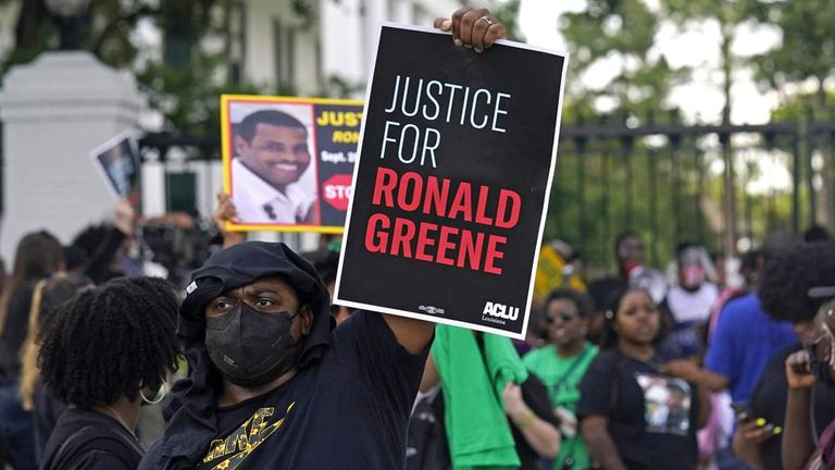 Protestors demand justice for the death of Ronald Green. Pic: AP