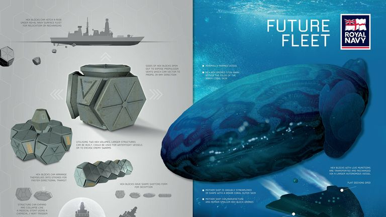 This submarine can manufacture 'hex block' drones for underwater transport. Pic: Royal Navy