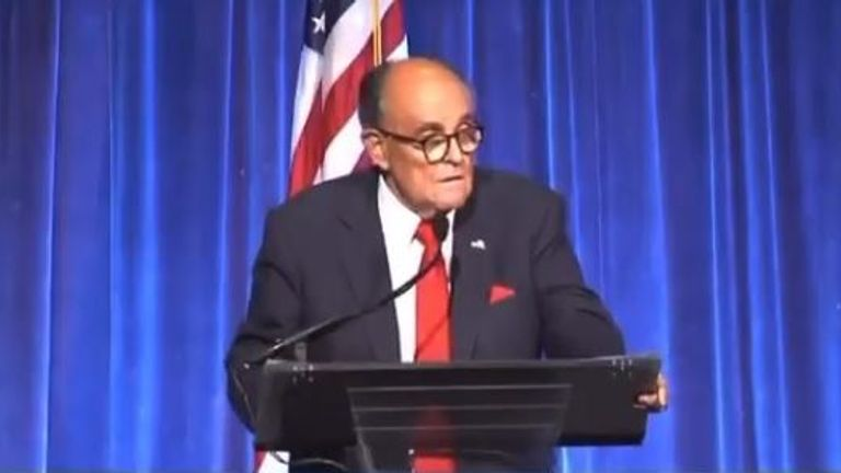 Rudy Giuliani addressing the crowd in Manhattan
