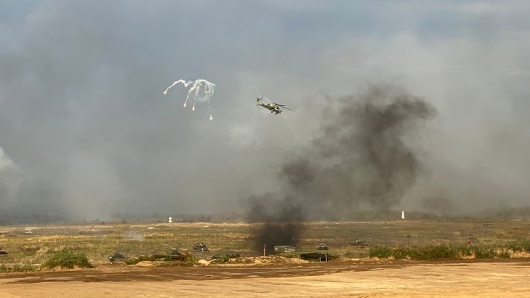 Helicopters took part in the exercise