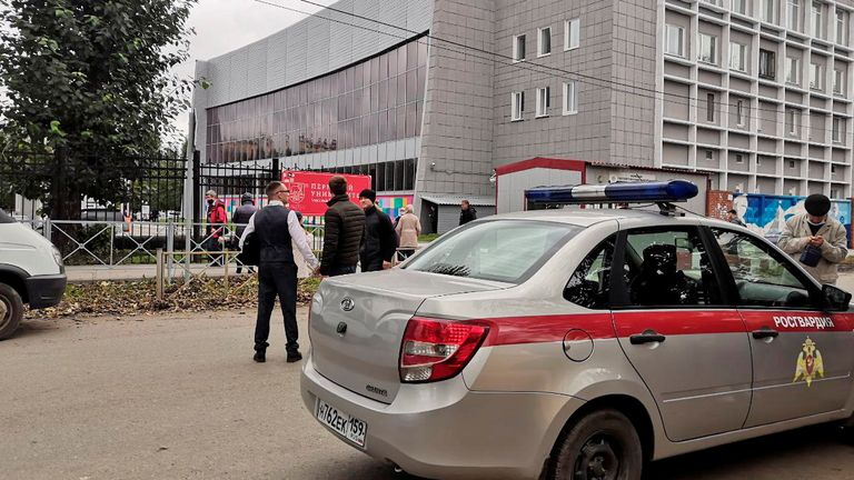 A car of Russia's National Guard is seen at the scene after a gunman opened fire at the Perm State University in Perm, Russia September 20, 2021. REUTERS/Anna Vikhareva NO RESALES. NO ARCHIVES