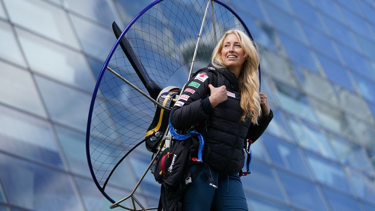 Paramotorist Sacha Dench, who is known as the 'human swan', pictured with her adapted electric paramotor at Glasgow Science Centre in June