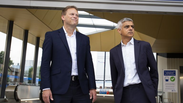 Mr Khan, here with Grant Shapps (L) at the opening of Battersea Power Station Tube, said rail stations are at risk of flooding