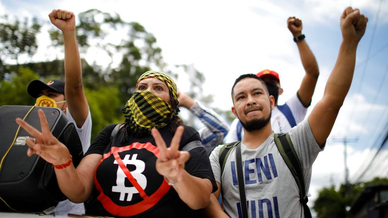 Union members take part in a protest against the use of Bitcoin as legal tender in San Salvador, El Salvador, September 1, 2021. REUTERS/Jose Cabezas