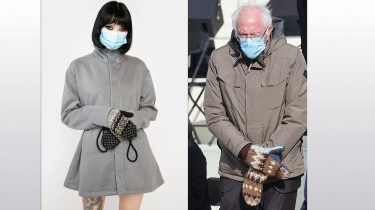 The Dolls Kill Halloween costume and Bernie Sanders at Joe Biden's inauguration