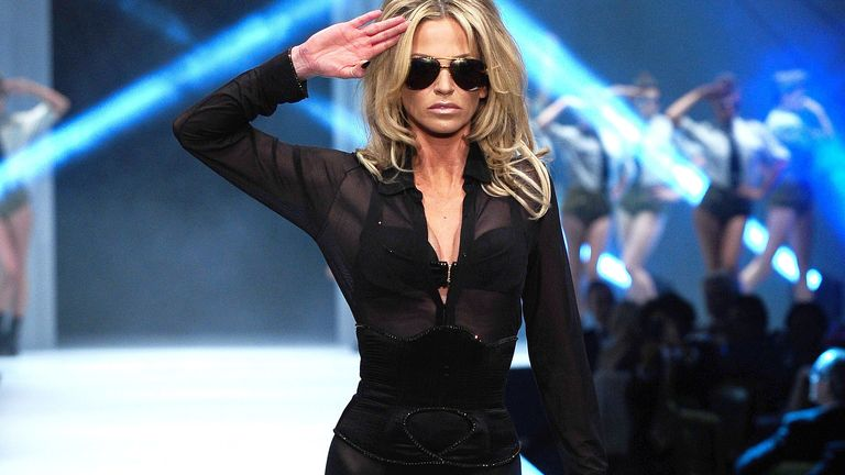 Sarah Harding is seen on the catwalk at the Lingerie London fashion show and gala at the Old Billingsgate Market in London