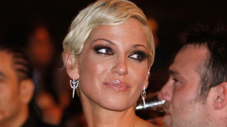 Singer Sarah Harding from British band Girls Aloud the Brit Awards 2009 ceremony at Earls Court exhibition centre in London, England, Wednesday, Feb. 18, 2009. (AP Photo/MJ Kim)