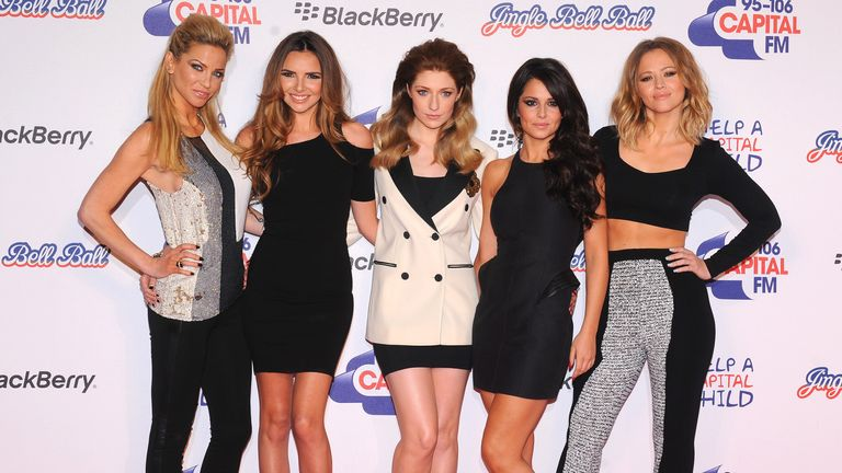 Girls Aloud backstage at the Capital Radio Jingle Bell Ball at the O2 arena.in London in 2012