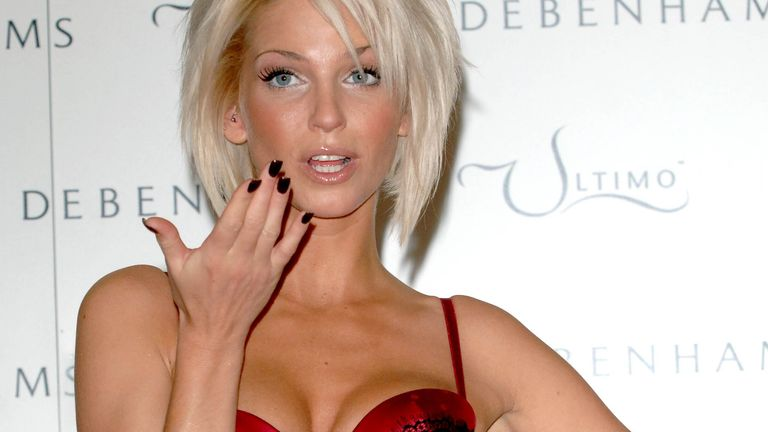 Sarah Harding is launched as the new face and body of Ultimo Underwear at Debenhams in central London in 2006