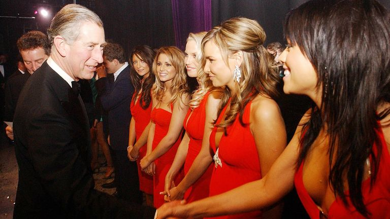 The Prince of Wales meets Girls Aloud backstage.