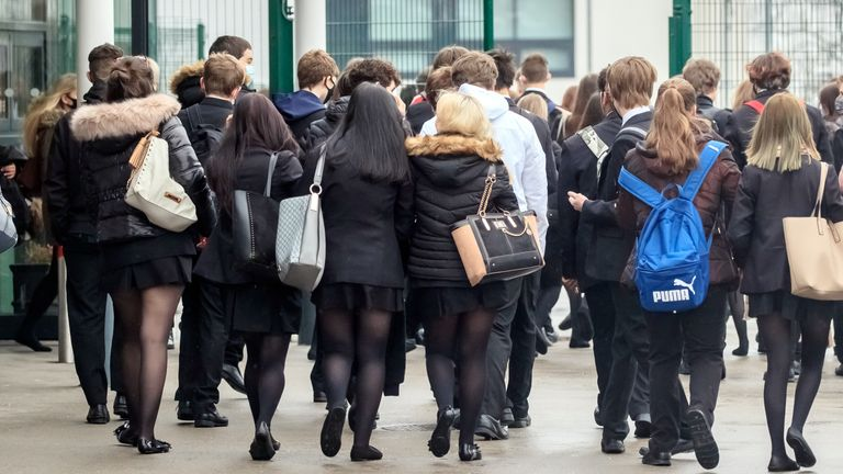 FILE IMAGE - Mar 8, 2021 - Students arrive at Outwood Academy in Woodlands, Doncaster in Yorkshire