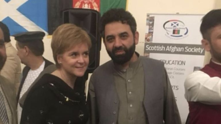 Waheed Totakhyl, right, with Nicola Sturgeon, the first minister of Scotland