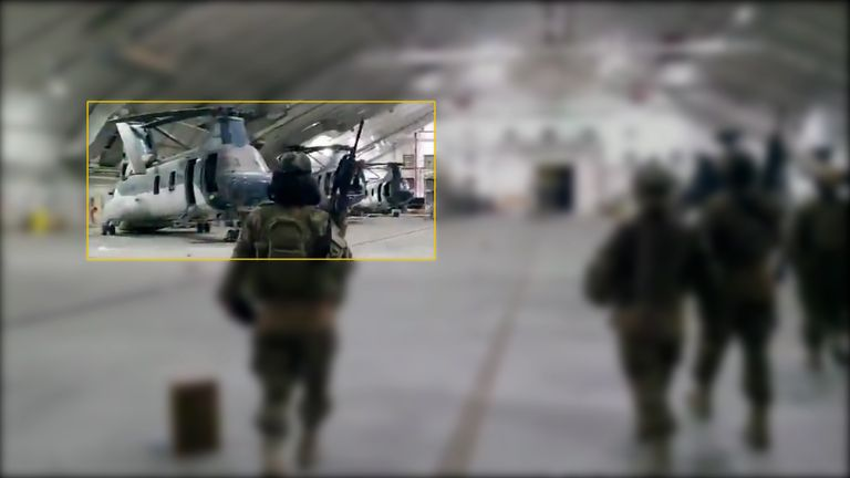 Four  CH-46 Sea Knight helicopters can be seen inside a hangar at Kabul airport in a video shared by Nabih Busol of the LA Times.