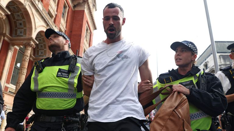 Sean Ward was pictured being led away by police outside the Science Museum in west London