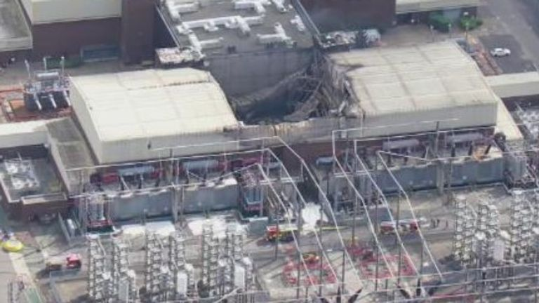 An aerial photo shows the damage after the electricity interconnector fire at Sellindge in Kent