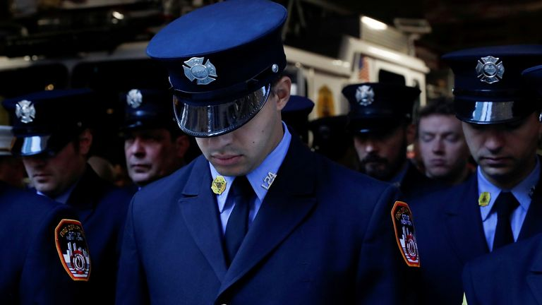 New York firefighters on the 20th anniversary of 9/11