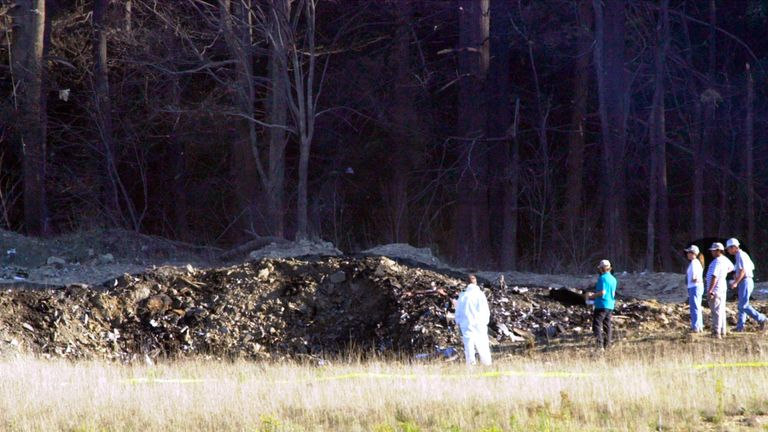 United Airlines flight 93 crashed in Shanksville, Pennsylvania, when passengers fought the hijackers. Pic: PA