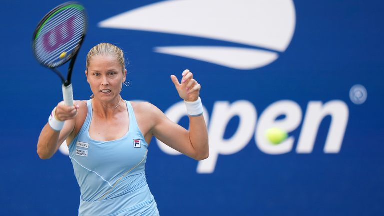 Shelby Rogers hits a forehand during a Women's Singles match at the 2021 US Open. Pic: AP