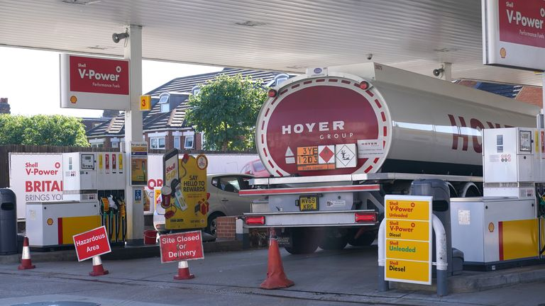 A delivery of fuel at a Shell garage in Clapham, London