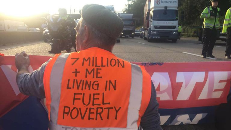 Handout photo issued by Insulate Britain of protesters occupying the clockwise and anti-clockwise lanes on the M25 in Surrey this morning. Issue date: Tuesday September 21, 2021.