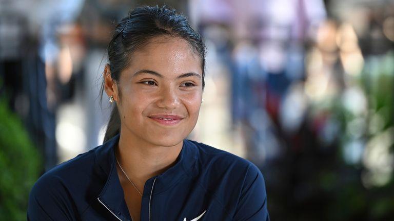 FILE IMAGE Emma Raducanu interviews at the 2021 US Open, Monday, Sep. 6, 2021 in Flushing, NY  PIC:AP