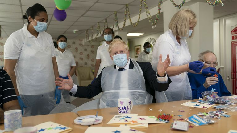 Prime Minister Boris Johnson during a visit to Westport Care Home in Stepney Green, east London, ahead of unveiling his long-awaited plan to fix the broken social care system. Picture date: Tuesday September 7, 2021.