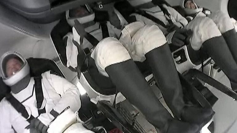 SpaceX astronauts give the thumbs up